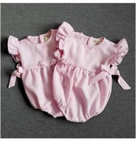 baby girl sections - Pink Jumpsuits Rompers Cotton Cloth Baby Triangle Climbing Clothing Piece Romper Bow Section Striped Bow Jumpsuits climbing pants BH2072