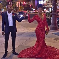 Wholesale 2016 New Sparkly Red Sequined Mermaid Prom Evening Dresses Long Sleeves for African Girls Sexy V Neck Court Train Special Occasion Dresses