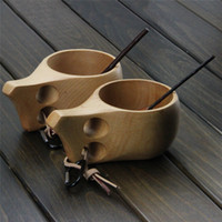 Wholesale 10PCS Top Grade Hand Made Finland foreign trade export tableware KUKSA Wooden Oak Burlywood Double Holes Wooden coffee cup milk cup