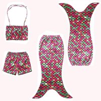swimwear uk - 2016 sets Lovely Girls Kids Mermaid Tail Swimmable Bikini Set Swimwear Costume Swimsuit UK