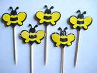 bees food supply - cheap Bumble Bees Party Picks Cupcake Toppers Toothpicks Food Picks wedding baby shower birthday party favors