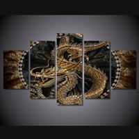 Animales grandes Baratos-5 Pcs / Set No Enmarcado HD Impresión animal Impresión de la lona de la pintura del arte del dragón impresión de la sala impresión del cartel de la impresión cuadros grandes de la lona