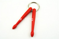 Wholesale 6 Pairs of Colourful Smart Plastic Drum Sticks Keychains Keyrings Wholesales Drum Cheap Drum
