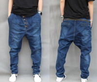 baggy pants jeans - hot sale Spring Men s Hip hop Jeans Loose Harem Denim Pants Baggy Tapered Pants Trousers Fashion Men Jeans