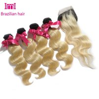 beautiful roots - Most Beautiful and Popular Dark root b blond Ombre Brazilian virgin hair weave bundles hair with one closure