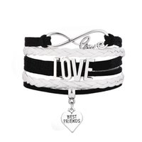 best new punk - New Arrival best friends infinite Heart love dangle multilayer hand knitted leather punk rock Woven bracelet for best friends