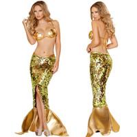 beach uniform - Sexy Halloween Spark Sequins Gold Split Mermaid Dress Costume Cosplay Women s Beach Mermaid Maxi Dress Party Game Uniform Sets A5599