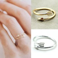 arrow shops - 2015 Punk Adjustable Real Gold Plated Ring Vintage Arrow Wrap Rings Women Men Jewelry Free Shopping