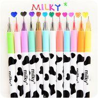 Wholesale 12 color set Milky gel pen Diamond ball pen Korean Stationery zakka Canetas papelaria material escolar school supplies