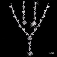 bridal necklace - 2016 New Cheap Silver plated Holy White Rhinestone Crystal Flower Earring Set Necklace Set Bridal Jewelry