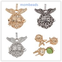 Wholesale mombeads Angel Wing Locket Harmon Ball pregancy Ball Mexican bola ball Copper Pendant fit necklace for women Hollow Cage Bell colors