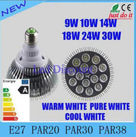 Wholesale DHL Dimmable Led bulb par38 par30 par20 V W W W W W W E27 par LED Lighting Spot Lamp light downlight