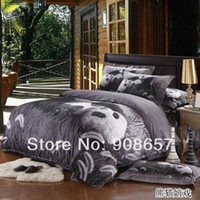 Wholesale luxury black panda animal pattern cotton girls bedding set full queen king size bed sheet discount duvet cover bedclothes pc