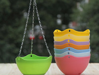 Wholesale Flexible Chain Plastic Planter Basket Hanging Flower Pot Garden Home Decoration mix colors cm cm