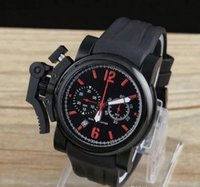 auto battery sizes - Luxury big size red limited Mansory Chronofighter rubber strap pvd black bezel quartz chronograph men dive watch stopwatch mens waristwatch