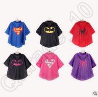 Wholesale 100pcs CCA4084 High Quality Designs Kids Superman Batman Spiderman Superhero Rain Coat Cartoon Raincoats Waterproof Children Cute Raincoat