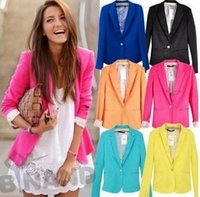 Women's spring coats - 2016 spring New Women s Fashion Candy Colors Blazer Suit with Single Button Ladies Jacket Coat Plus Size Outerwear DHL Free L67