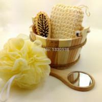 Wholesale Fashion bathroom accessories pieces cleansers hair brush Wooden Cask bath suit bathroom toiletries care wooden bath set M