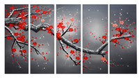 flower picture frame - Large Oil Painting with Frame Red Plum Blooming Art Hand Painted Red Flower Paint Large Landscape Painting x60CMx5pcs