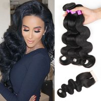 Wholesale Brazilian Weaves Human Hair with Closure A Unprocessed Human Hair Natural Color Bundles Brazilian Body Wave Hair with Closure