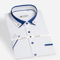 Wholesale Summer Mens Short Sleeve Mini polka Dot Pattern Dress Shirt with Contrast Color Double Collar Slim fit Cotton Casual Shrits