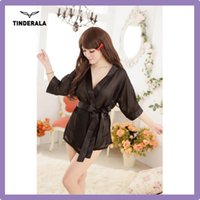 Wholesale Gauze Sexy Kimono Women Lingerie Slik Solid Robe Lady Night Gown Pajamas Sleepwear in Colors