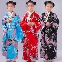 Wholesale New Japan baby Girls Satin Kimono Robe For Spa Party Peacock Printing Children dance clothing DHL C1032