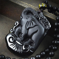 Cheap Manual sculpture natural obsidian elephant pendant New black stone necklace Fine jade jewelry For women men Free rope Fashion