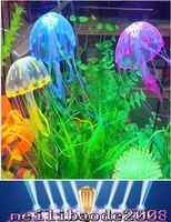 Wholesale NEW Multicolor Vivid Glowing Effect Fluorescent Artificial Jellyfish Aquarium Fish Tank Decoration Ornament Swim Pool Bath Decor MYY
