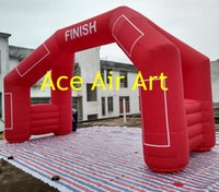 Wholesale Free Air Blower Angle Red Inflatable Finish Line Arch with Legs and Vecro for racing and advertising