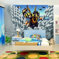 Wholesale Yellow robot D broken wall aircraft interior sofa background decorative non woven wallpaper manufacturers direct delivery speed