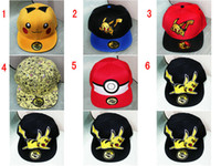 baseball girl costumes - 6 Colors Poke Go Pikachu Baseball Caps Snap backs hats Cartoon embroidery canvas Hip Hop Pocket Animal Monster Cosplay Costume
