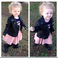 Wholesale Kids Toddlers Girls Children s Long Sleeve Black Faux Leather Jaclets Zip Cool Fashion