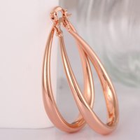 Wholesale Rose Gold Waterdrop Round and Smooth Earrings of Eco friendly Copper Popular Jewelry in Europe and America