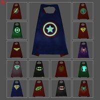 Wholesale luminous cape cm cm double layer for kids birthday party Halloween superhero spiderrman