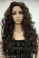 Wholesale gt Dark Brown Long Wave Curly Women Ladies Daily Middle Part Fluffy wig