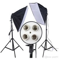 Wholesale 1 set New Photo Video Studio x cm in1 x head Socket Lighting Lamp Softbox without tripod F30120