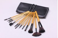 america tools - 12 wood color Makeup Brushes Cosmetic Brush Set Kit Tools SOFT Pouch Bag Case Popular in Eurpean and America