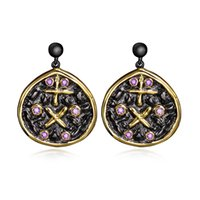 Cheap New Jewelry Earrings for women CZ diamond Crystal Vintage Black & Gold plated Romantic Pendants Earrings Ladies accessories