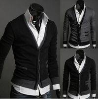 Wholesale Fake pocket design sweater hot sale Slim fashion men s sweater brand Cardigan sweater luxury Mens pullover personality mens cardigan