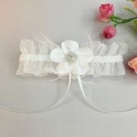 Wholesale Wedding Garter Set Crystal Pearl IVORY Shabby Flower Wedding Garter Set The Bride Wedding Accessories The Garter Wedding Garters Silk Garter