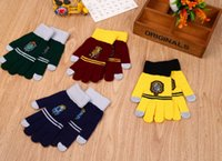 Wholesale Harry Potter Touch Screen Gloves Knit Fingers Gloves Gift Smartphone Touch Screen Gloves Hufflepuff gloves Cosplay KKA828