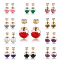 Wholesale Hot colors transparent round Pearl earrings for women double sided Candy Bridal wedding luxury ear stud round diamond statement earring
