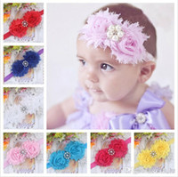 baby pearl jewelry - Baby Girl s Chiffon Rose Pearl Headband Color Children Hair Accessories Kids Hair Jewelry CM Elastic Headband