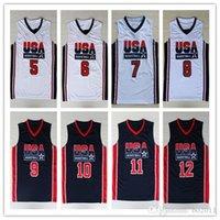 usa olympic basketball jersey - 1992 USA Dream Team M Jordan Jersey Larry Bird Olympic Game Basketball Jerseys Throwback Stitched blue white