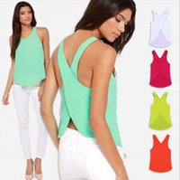 Wholesale 2016 Summer Women Blouses Strapless Candy Color Casual Ladies Shirts Sexy Backless Strap Chiffon Blouse Crop Tops Ladies Vest plus size