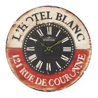 Wholesale Vintage British France styles Wooden Retro Colourful Country Tuscan Style Wood Wall Clocks DIY digital bracket clock
