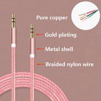 achat en gros de audio aux or de câble-1M Nylon Fil Métal Shell 3.5mm mâle à 3.5mm mâle Câble audio 24k Or Placage AUX Cord Câble Haut-parleur