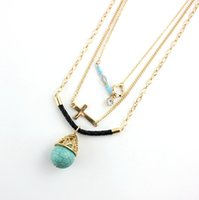 bars leather necklace - New Ethnic Jewelry Celtic Knot Turquoise Ball Statement Necklace Cross Beads Bar Pendants Necklaces Black Leather Rope Layer Chains