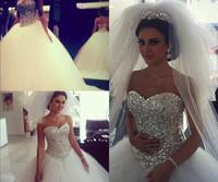 2017 Robes de mariée mousseux Robe de bal blanc gonflé avec cristaux strass Tulle Robes de mariée arabe Robe moulante Image réelle pour mariée